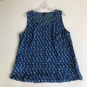 Ann Taylor XL Blue Sleeveless Top Shell